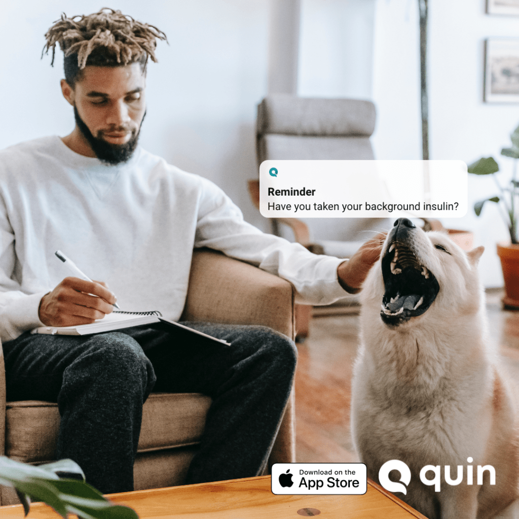 Usert looking at the Quin insulin app